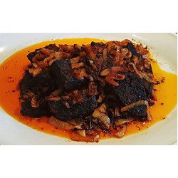 Fried beef chunks in stew