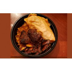 Jollof Rice with Moinmoin and Fried Plantain